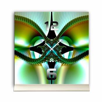 Tischuhr 30cmx30cm inkl. Alu-Ständer -abstraktes Design Kaleidoskop grün  geräuschloses Quarzuhrwerk -Wanduhr-Standuhr TU4329 DIXTIME