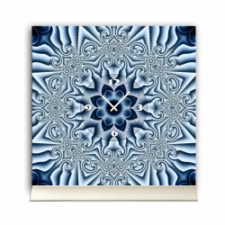 Tischuhr 30cmx30cm inkl. Alu-Ständer -modernes Design Kaleidoskop blau  geräuschloses Quarzuhrwerk -Wanduhr-Standuhr TU4409 DIXTIME