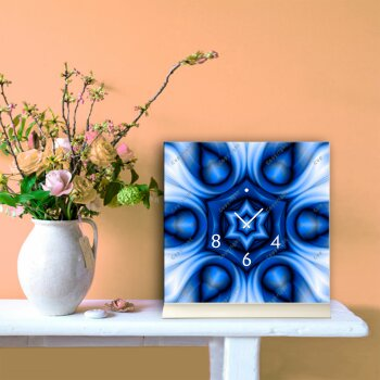 Tischuhr 30cmx30cm inkl. Alu-Ständer -modernes Design Kaleidoskop blau  geräuschloses Quarzuhrwerk -Wanduhr-Standuhr TU4411 DIXTIME