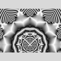 Tischuhr 30cmx30cm inkl. Alu-Ständer -modernes Design Kaleidoskop silbergrau  geräuschloses Quarzuhrwerk -Wanduhr-Standuhr TU4412 DIXTIME