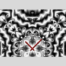 Tischuhr 30cmx30cm inkl. Alu-Ständer -modernes Design Kaleidoskop grau  geräuschloses Quarzuhrwerk -Wanduhr-Standuhr TU4417 DIXTIME