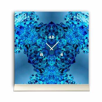 Tischuhr 30cmx30cm inkl. Alu-Ständer -modernes Design Kaleidoskop blau  geräuschloses Quarzuhrwerk -Wanduhr-Standuhr TU4419 DIXTIME