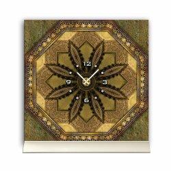 Tischuhr 30cmx30cm inkl. Alu-Ständer -antikes Design Vintage Fliesen-Look  geräuschloses Quarzuhrwerk -Wanduhr-Standuhr TU4420 DIXTIME
