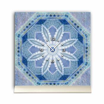 Tischuhr 30cmx30cm inkl. Alu-Ständer -nostalgisches Design Fliesen-Look blau  geräuschloses Quarzuhrwerk -Wanduhr-Standuhr TU4421 DIXTIME
