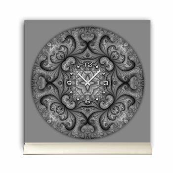 Tischuhr 30cmx30cm inkl. Alu-Ständer -modernes Design Fraktal Muster grau  geräuschloses Quarzuhrwerk -Wanduhr-Standuhr TU4422 DIXTIME