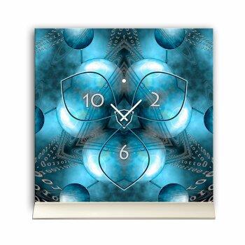 Tischuhr 30cmx30cm inkl. Alu-Ständer -modernes Design Cyber Space  geräuschloses Quarzuhrwerk -Wanduhr-Standuhr TU4423 DIXTIME