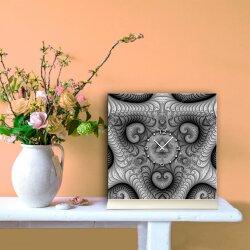 Tischuhr 30cmx30cm inkl. Alu-Ständer -abstraktes Design Fraktal Muster grau  geräuschloses Quarzuhrwerk -Wanduhr-Standuhr TU4424 DIXTIME