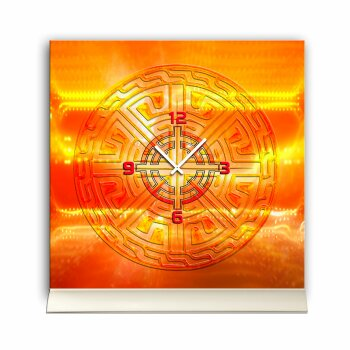 Tischuhr 30cmx30cm inkl. Alu-Ständer -mystisches Design orange  geräuschloses Quarzuhrwerk -Wanduhr-Standuhr TU4450 DIXTIME