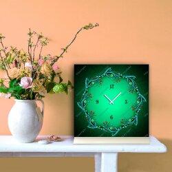 Tischuhr 30cmx30cm inkl. Alu-Ständer -Art déco Design Jugendstil grün  geräuschloses Quarzuhrwerk -Wanduhr-Standuhr TU4457 DIXTIME
