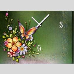 Tischuhr 30cmx30cm inkl. Alu-Ständer -Art déco Design Jugendstil grün  geräuschloses Quarzuhrwerk -Wanduhr-Standuhr TU4461DIXTIME