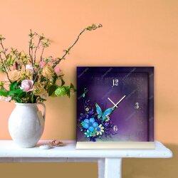 Tischuhr 30cmx30cm inkl. Alu-Ständer -Art déco Design Jugendstil lila  geräuschloses Quarzuhrwerk -Wanduhr-Standuhr TU4462 DIXTIME