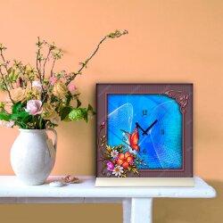 Tischuhr 30cmx30cm inkl. Alu-Ständer -Art déco Design Jugendstil mauve blau  geräuschloses Quarzuhrwerk -Wanduhr-Standuhr TU4465 DIXTIME