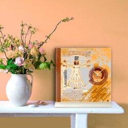 Tischuhr 30cmx30cm inkl. Alu-Ständer -Vintage Design Leonardo braun geräuschloses Quarzuhrwerk -Wanduhr-Standuhr TU5007 DIXTIME