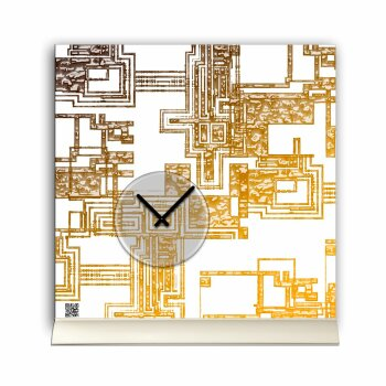Tischuhr 30cmx30cm inkl. Alu-Ständer -edles Design weiß gold geräuschloses Quarzuhrwerk -Wanduhr-Standuhr TU5008 DIXTIME