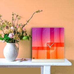 Tischuhr 30cmx30cm inkl. Alu-Ständer -abstraktes Design pink orange  geräuschloses Quarzuhrwerk -Wanduhr-Standuhr TU5010 DIXTIME