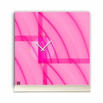 Tischuhr 30cmx30cm inkl. Alu-Ständer -abstraktes Design rosa pink  geräuschloses Quarzuhrwerk -Wanduhr-Standuhr TU5011 DIXTIME