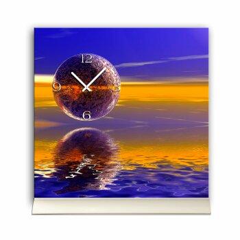 Tischuhr 30cmx30cm inkl. Alu-Ständer abstraktes Design Space blau orange  geräuschloses Quarzuhrwerk -Wanduhr-Standuhr TU5012 DIXTIME