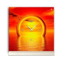 Tischuhr 30cmx30cm inkl. Alu-Ständer Sonnenuntergang...