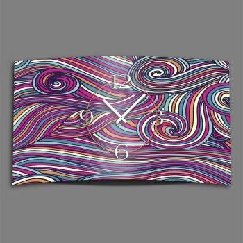 Zentangle Ornamente bunt Designer Wanduhr modernes Wanduhren Design leise kein ticken dixtime 3D-0144