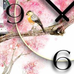 Asia Kirschblüte Vogelhäuschen Designer Wanduhr modernes Wanduhren Design leise kein ticken dixtime 3D-0140