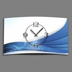 Ornament weiß blau Designer Wanduhr modernes Wanduhren Design leise kein ticken dixtime 3D-0137