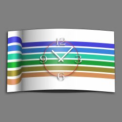 Streifen blau grün Designer Wanduhr modernes Wanduhren Design leise kein ticken dixtime 3D-0135