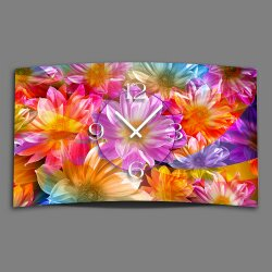 bunte Blumen Designer Wanduhr modernes Wanduhren Design...