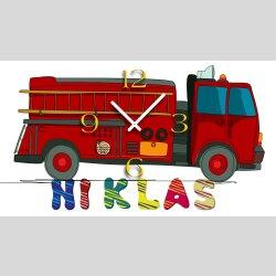 Kinder-Wanduhr Feuerwehrauto mit persönlichem Namen...