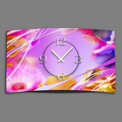 rosa Blumen Designer Wanduhr modernes Wanduhren Design...