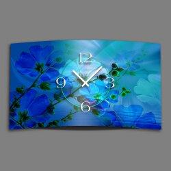 blaue Blumen Designer Wanduhr modernes Wanduhren Design leise kein ticken dixtime 3D-0127