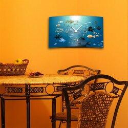 Fische im Meer Designer Wanduhr modernes Wanduhren Design leise kein ticken dixtime 3D-0111