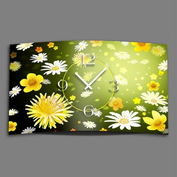 gelb weiße Blumen Designer Wanduhr modernes Wanduhren Design leise kein ticken dixtime 3D-0106