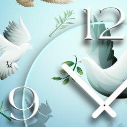 Friedenstauben Designer Wanduhr modernes Wanduhren Design leise kein ticken dixtime 3D-0104