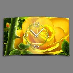 gelbe Rose Designer Wanduhr modernes Wanduhren Design...
