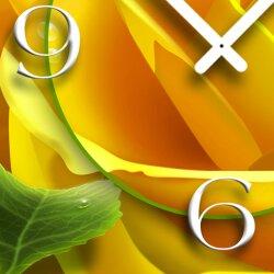 gelbe Rose Designer Wanduhr modernes Wanduhren Design leise kein ticken dixtime 3D-0098