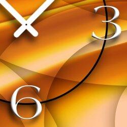 Abstrakt orange Designer Wanduhr modernes Wanduhren Design leise kein ticken dixtime 3D-0085