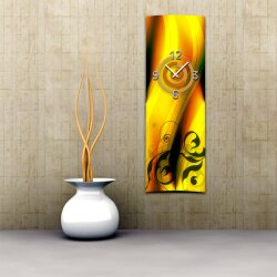 Wanduhr XXL 3D Optik Dixtime abstrakt orange 30x90 cm...