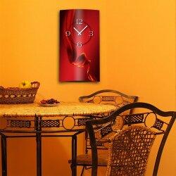 Abstrakt Seide rot hochkant Designer Wanduhr modernes Wanduhren Design leise kein ticken dixtime 3D-0079