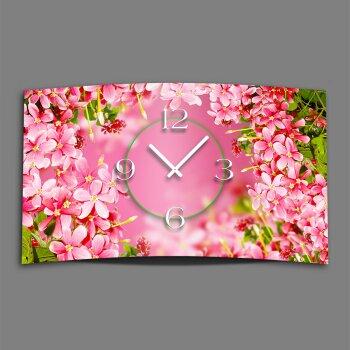 pinke Blumen Designer Wanduhr modernes Wanduhren Design leise kein ticken dixtime 3D-0074
