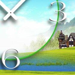 Landschaft Windmühle Designer Wanduhr modernes Wanduhren Design leise kein ticken dixtime 3D-0073