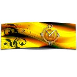 Wanduhr XXL 3D Optik Dixtime abstrakt orange 30x90 cm leises Uhrwerk GL-022