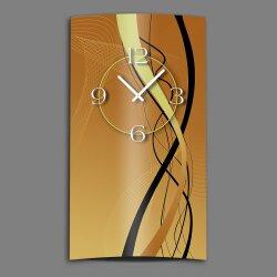 Abstrakt schwarz braun hochkant Designer Wanduhr modernes...