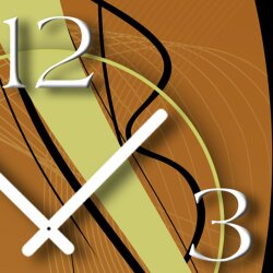 Abstrakt schwarz braun hochkant Designer Wanduhr modernes Wanduhren Design leise kein ticken dixtime 3D-0066