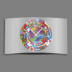 Flaggen Designer Wanduhr modernes Wanduhren Design leise...