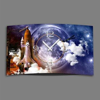 Space Rakete Weltall Designer Wanduhr modernes Wanduhren Design leise kein ticken dixtime 3D-0061