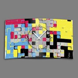 Abstrakt Streetart bunt Designer Wanduhr modernes Wanduhren Design leise kein ticken dixtime 3D-0060