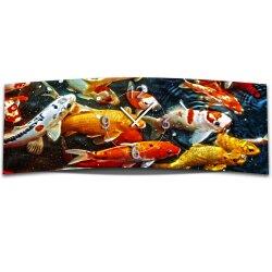 Wanduhr XXL 3D Optik Dixtime Fische 30x90 cm leises...