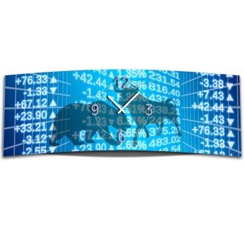 Wanduhr XXL 3D Optik Dixtime Aktien Boerse Stier 30x90 cm leises Uhrwerk GL-020
