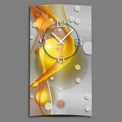 Abstrakt gelb orange hochkant Designer Wanduhr modernes Wanduhren Design leise kein ticken dixtime 3D-0049