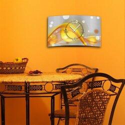 Abstrakt gelb orange Designer Wanduhr modernes Wanduhren Design leise kein ticken dixtime 3D-0048